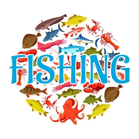 Sea fishing and ocean fishery industry, fish catch. Vector pike and trout, salmon and marlin, squid and octopus, lobster and shrimps, flounder and tuna