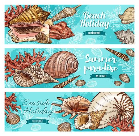 Vector sea and ocean shells and underwater corals on blue water, vacations travel, summer journey adventure and seaside holiday resort. Welcome to paradise, summer beach sketch banners