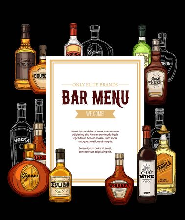 Elite alcohol drinks bar menu, frame of bottles. Vector Irish whiskey, vodka and cognac, wine and tequila, scotch and bourbon. Gin with vermouth, brandy and rum, party beverages and drinks Illustration