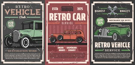 Retro vehicle club, vintage old cars and rarity motors restoration, tuning service posters. Vector car center and mechanic garage station, engine and chassis spare parts shop