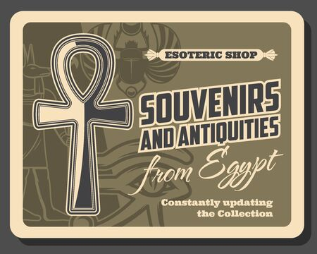 Ancient Egypt, travel souvenirs and historic antiquities, esoteric shop. Vector Egypt tourism and culture vintage retro poster with Anubis, Horus eye, scarab and Ankh cross symbol