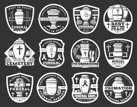 Bestattungssymbole, Kolumbarium für die Einäscherung und Organisationszeichen für die Bestattungszeremonie. Vektorbestattungskolumbariumurne, christliches Kreuz und schwarzes RIP-Band, Trauerblumenkranz und Friedhof