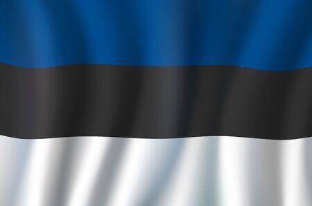 Estonia flag, 3D realistic wavy banner. Vector national flag, Estonia Independence Day symbol of blue, black and white stripes background