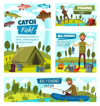 Sea fishing and big fish catch, fisher tackles, lures and equipment. Vector fisherman in rubber boat at river or lake with rod, fisherman camping tent and baits. Crab, pike and perch