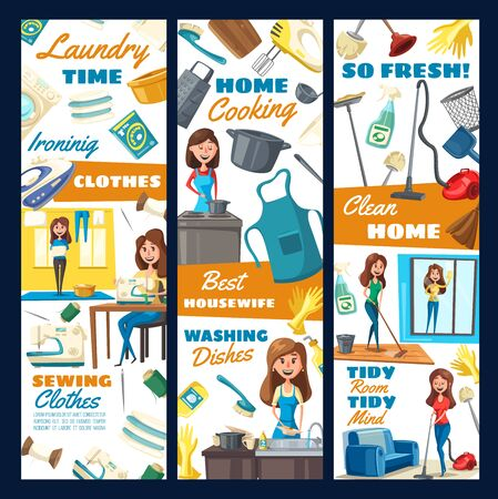 Professional housekeeper service, cleaning and laundry, sewing needlework and kitchen dish washing. Vector housewife cleaning and mopping floor in room, sewing clothes and ironing