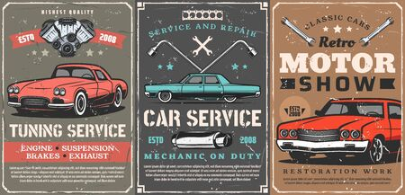 Retro cars, vintage old vehicle tuning and garage station service. Vector rarity and antique motor cars show, repair and diagnostic center, engine and chassis restoration mechanic garage