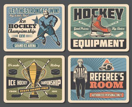 Vector ice hockey player with stick and puck on skates, goalkeeper and referee whistle, championship match cup. Ice hockey championship and professional sport equipment store, vintage retro posters Ilustração