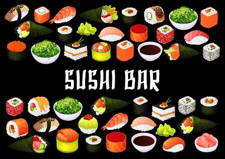Japanese cusine sushi bar, rolls menu cover. Vector japanese nigiri sushi, temaki or uramaki and futo-maki rolls, oshidzushi of fish and seafood sushi in rice and seaweed