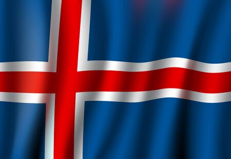 Iceland flag, 3D realistic wavy banner. Vector Iceland national flag, Reykjavik Independence Day symbol of blue, white and red cross background