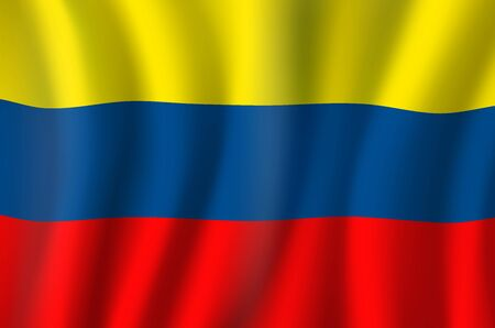 Colombia national flag, 3D realistic wavy banner. Vector Colombia national flag of South America country, Independence Day and travel symbol of yellow, blue and red stripes background Foto de archivo - 132521688