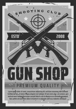 Guns and shotguns shop, personal ammunition and hunting ammo vintage retro poster. Vector military or training shooting ammunition, premium quality bullet rifles store, hunter club shooting range  イラスト・ベクター素材