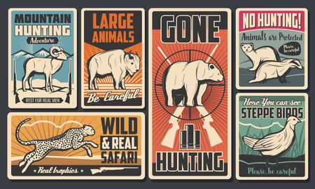 Hunting open season, wild animals and African safari vintage retro posters. Vector mountain goat and raccoon, bison and sable, partridge, leopard and grizzly bear, buffalo, no hunting sign  イラスト・ベクター素材