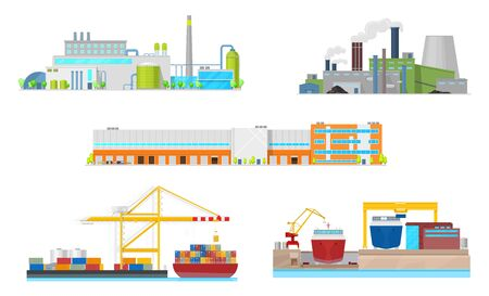 Industrial building vector icons. Exteriors of power station, oil refinery plant and manufacturing factory facilities, warehouse, port and shipyard with chimneys, smoke pipes, containers and ships