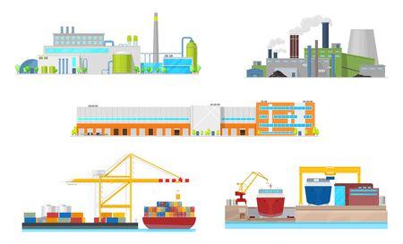 Industrieel gebouw vector iconen. Buitenkanten van elektriciteitscentrale, olieraffinaderij en fabrieksfaciliteiten, magazijn, haven en scheepswerf met schoorstenen, rookpijpen, containers en schepen Vector Illustratie