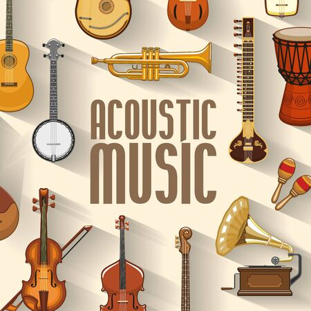 Musical instruments and sound band equipment. Vector maracas and banjo, jazz trumpet or saxophone and orchestra violin cello or contrabass, jembe drum and gramophone music instruments Illustration