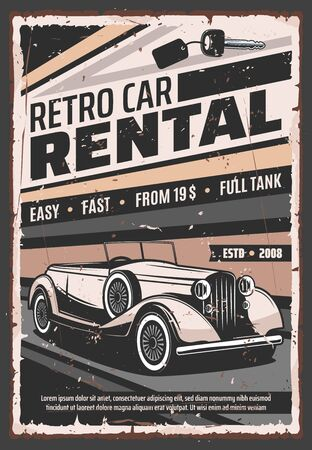 Retro vehicle rental service, old vintage cars advertising poster. Vector rarity vehicle vip luxury limousines and classic oldtimer cabriolet car rental company