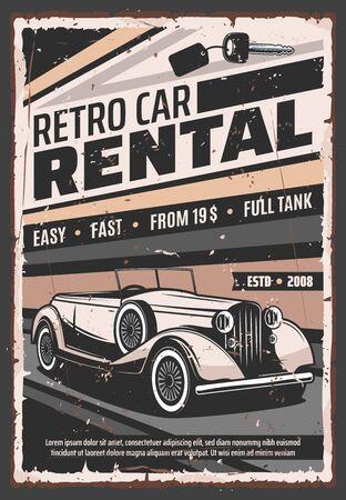 Servicio de alquiler de vehículos retro, cartel publicitario de coches antiguos antiguos. Vector rareza vehículo vip limusinas de lujo y empresa de alquiler de coches descapotable clásico veterano