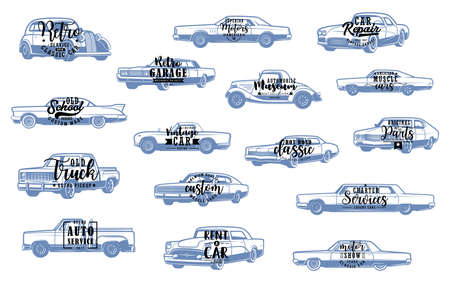 Vector lettering calligraphy symbols of rarity motor vehicles, racing cars spare parts. Retro vehicle mechanic service and vintage old cars, repair and garage station Illustration