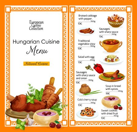 Hungarian cuisine restaurant menu, traditional Hungary food dishes. Vector menu of braised cabbage with pepper, sausage in sharp sauce and vegetable stew, egg salad and bread soup