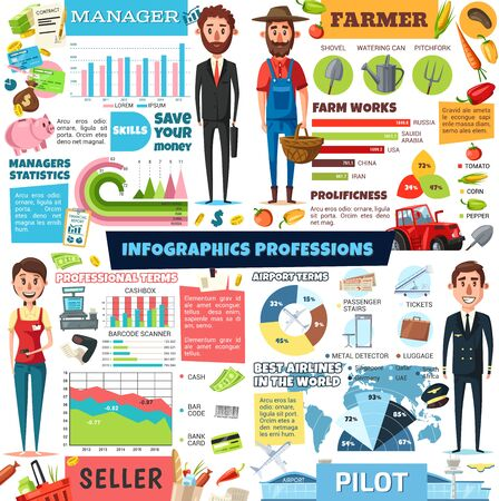 Professions infographic, seller and business manager, agriculture farmer and aviation pilot or flight attendant people staff statistics. Vector diagrams, flowcharts and profession information in world Vetores