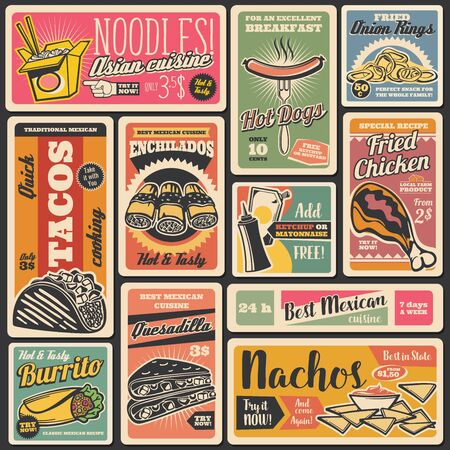 Vector fastfood hot dogs and burgers, street food takeaway Mexican tacos, nachos and burrito, Asian noodles, pizza and ice cream. Fast food snacks, restaurant and bistro menu vintage retro posters.