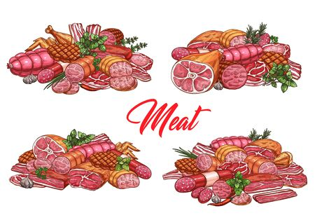 Meat food and sausages, butchery shop and farmer market gourmet products vector sketch. Butcher pork, lamb and beef steak, ham and bacon, filet and mutton ribs, salami or pepperoni sausage Vektorové ilustrace