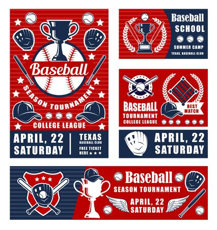 Vector baseball player tournament, sport champion winner cup, batter bat, glove and ball. Baseball game championship, team and league posters or banners