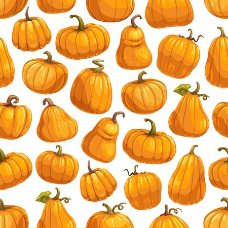 Pumpkins seamless pattern. Vector background of Halloween party, Thanksgiving day holiday and farming harvest orange round pumpkin pattern