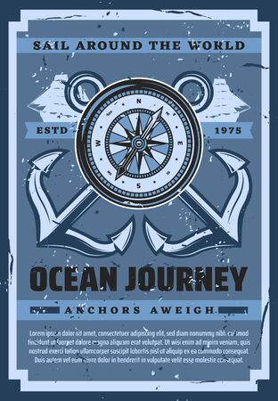 Nautical ship anchor and compass, ocean journey and sailing adventure vintage retro poster. Vector frigate ship and anchor, marine seafaring and nautical symbols, ocean cruise