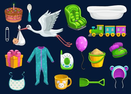 Baby care item icons of baby shower vector design. Toys, bib and milk cup, spoon, pin and stork, balloon, socks and bath, pyjama, car seat and baby monitor, gift box, cake and hat, sand pail, shovel Illustration