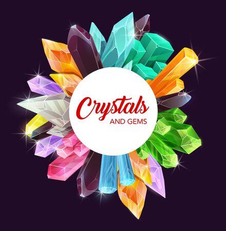 Kryształy, kamienie szlachetne i skały mineralne z drogocennymi kamieniami szlachetnymi w postaci diamentu, ametystu i szafiru. Różowy, zielony i niebieski kwarc, opal, szkło, szmaragd i cytryn, topaz, ramka turmalinowa Ilustracje wektorowe