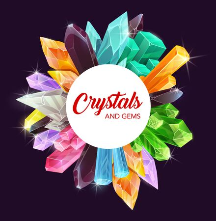Crystals, gem stones and mineral rocks with precious gemstones of diamond, amethyst and sapphire vector design. Pink, green and blue quartz, opal, glass, emerald and citrine, topaz, tourmaline frame