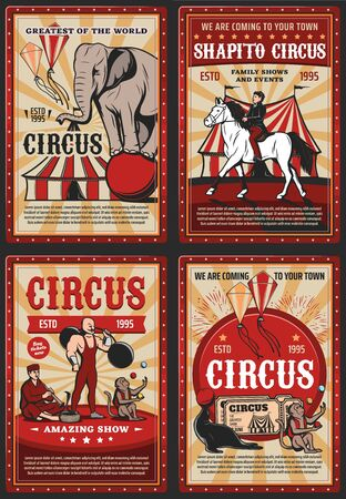 Circus and carnival vintage poster with retro big top tent Çizim