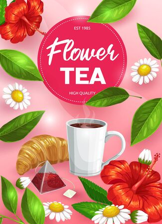 Herbal tea cup with flowers and green leaves vector design of hot beverage. Floral pyramid tea bag, hot drink mug with steam and croissant, hibiscus and chamomile flowers, mint and peppermint foliage