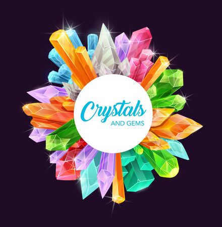 Crystals and gems vector frame of precious gemstones and mineral rocks, magic stones and jewels design. Pink quartz, blue sapphire and amethyst, diamond, topaz and opal, yellow citrine, green emerald Çizim