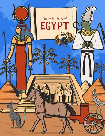 Travel to Egypt vector design of Ancient Egyptian pharaoh pyramids, gods and temple. Illustration