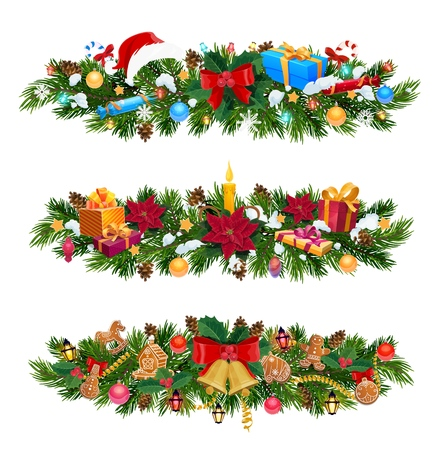 Christmas garlands with gifts, Xmas bells and red ribbon bows vector design. Pine and holly tree with New Year presents, Santa hat and snow, candy, balls and lights, candle, poinsettia and gingerbread