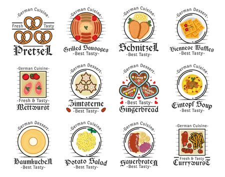 German cuisine  icons of meat dishes with vegetables and desserts. Standard-Bild - 133029348