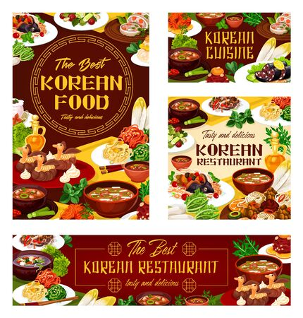 Korean food, advertisement of restaurant, menu cover template.
