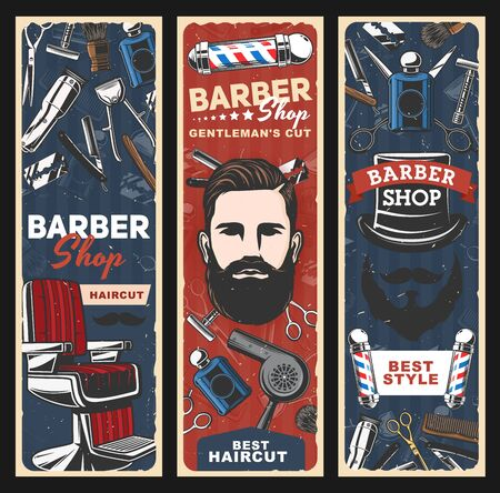 Barbershop and hair salon retro poles, hipster man with beard and mustache vector banners. Illusztráció