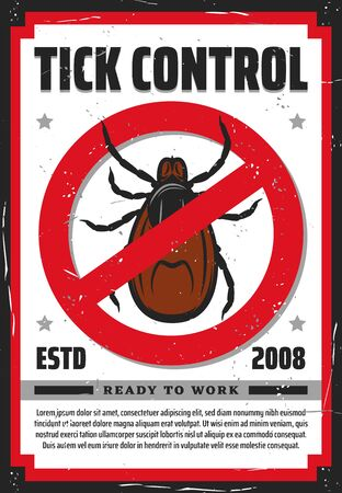 Pest control service vector design of tick insect warning or forbidden sign. Stop mite parasites, Lyme disease and encephalitis precaution, healthcare retro poster