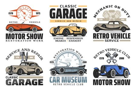 Vintage old cars repair and restoration service, retro vehicles museum and motor show signs.