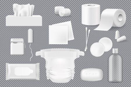 3D-Modelle für Hygieneprodukte mit Vektorseife, Watte, Pads und Tupfern, Papierservietten, Feuchttuch und Toilettenpapier. Realistische Zahnseide, Windel und Tampon, Ohrstöpsel und eine Flasche Mizellenwasser