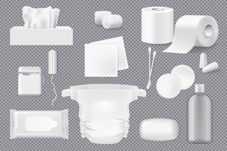 Hygiene product 3d mockups with vector soap, cotton wool, pads and swabs, paper napkins, wet wipe and toilet paper. Realistic floss, diaper and tampon, ear plugs and bottle of micellar water