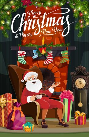 Christmas fireplace, Santa and New Year gifts vector design of winter holidays greeting card. Xmas mantelpiece with presents, stockings and festive garland, bell, lights and candle, ribbons and clock