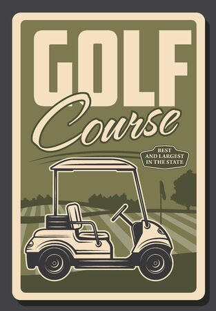 Golf club, professional game and sport tee course vintage retro poster. Vector premium state golf club training and victory cup championship, golf cart on putter 向量圖像