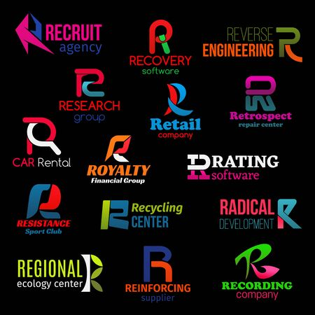 R icons of agency, company and service corporate identity. 일러스트