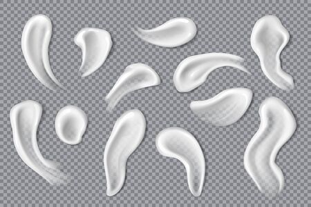 Cream and lotion swatches, smears and drops 3d vector design. Vector face and body skin care product strokes and samples of moisturiser, gel and milk, balm, facial mask and sunscreen, beauty cosmetics