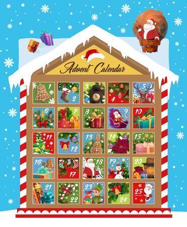 Diseño de vector de calendario de Adviento de Navidad de cuenta regresiva de vacaciones de mes de diciembre de Navidad y año nuevo. Árbol de Navidad, regalo y media de Santa, muñeco de nieve, duende y regalos, campana, caramelo y galleta Ilustración de vector