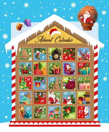 Christmas advent calendar vector design of Xmas and New Year december month holidays countdown. Christmas tree, Santa gift and stocking, snowman, elf and presents, bell, candy and cookie Illustration